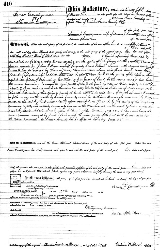 Deed by Isaac Countryman to Hannah Countryman, 25 Nov 1871