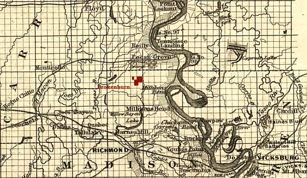 Brokenburn Plantation on 1863 map of Milliken's Bend area of Madison Parish, Louisiana